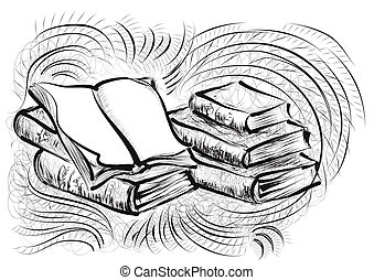 Bücherstapel gezeichnet  Stack of books Vector Clipart Royalty Free. 2,771 Stack of books ...
