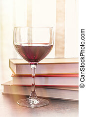 Stack of Books Glass of Wine - Stack of books with glass of ...