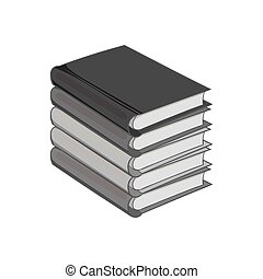 Stack of books icon, black monochrome style