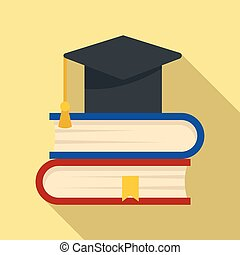 Stack of books icon, flat style