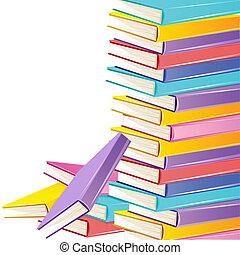 Stack of Books - illustration of stack of colorful books on...