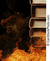 Stack of books in a burning fire - Conceptual image of a ...