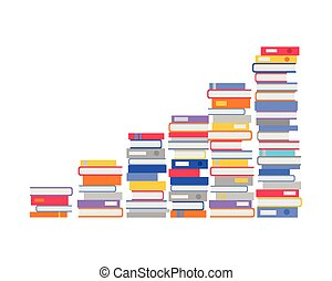 Stack of Books in the Form of Stairs. Vector - Stack of...