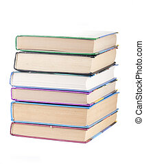 Stack of books isolated on white background