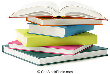 books isolated on white - stack of books isolated on white...