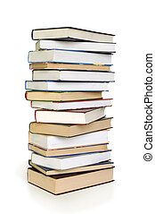 Stack of books isolated over white