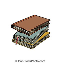 stack of books. Library and reading