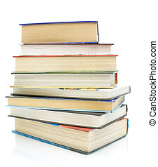 stack of books on a white background