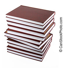 stack of books against white background