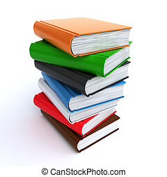 stack of books - Stack of colorful books on the white...