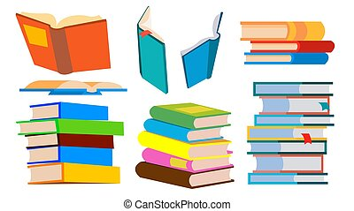 Stack Of Books Vector. Pile. Different Angles, Height. Learning, Reading Concept. Isolated Cartoon Illustration