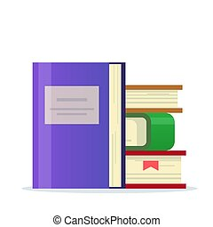 Stack of books with a bookmark. Icon for library or book section. Flat vector illustration isolated on white background.