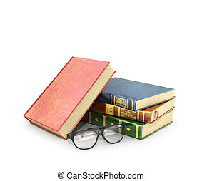 Stack of books with a pair of eyeglasses.