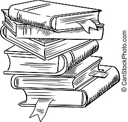 Stack of books with bookmarks isolated on white background,...