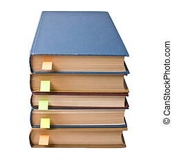 stack of books with bookmarks isolated on a white background...