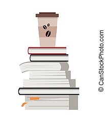 Stack of Books with Cup of Coffee