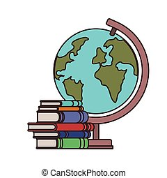 stack of books with globe on white background