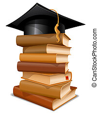 Stack of books with graduation cap