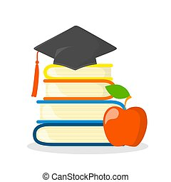 Stack of books with graduation cap on the top