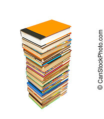 Stack of books with path isolated on white.
