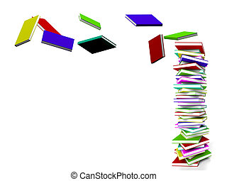 Stack Of Books With Some Flying Represents Learning And...