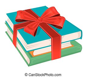 stack of books wrapped with a red ribbon