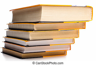 Stack of boors - Big stack of yellow books isolated on white...