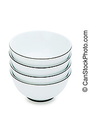 Stack of bowls isolated on the white