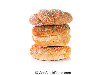 Stack of bread on a white background