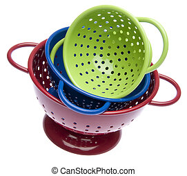 Stack of Bright Colanders