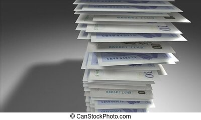 Stack of British Pounds.