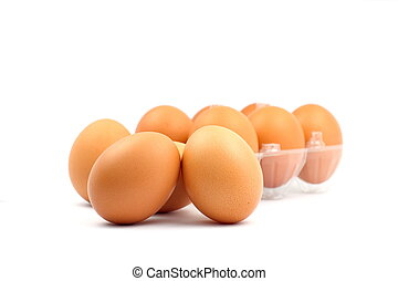 Stack of brown egg on white background