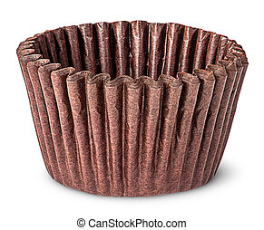 Stack of brown paper cups for baking muffins