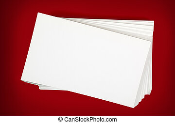 Stack of Business Cards over Red Background