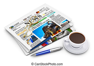 Stack of business newspapers and coffee cup