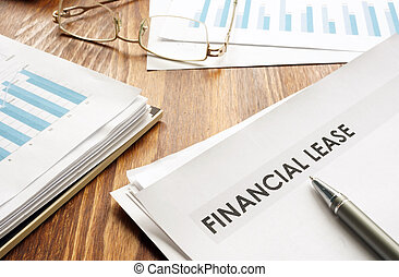 Stack of business papers with title Financial lease.