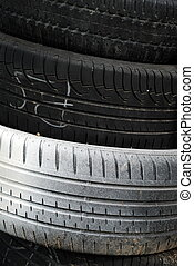 stack of car tires as background