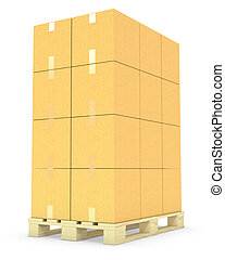 Stack of cardboard boxes on a pallet isolated on white...