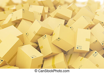 Stack of cardboard delivery boxes or parcels background. 3d rendering
