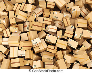 Stack of cardboard delivery boxes or parcels. Warehouse...