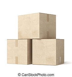 Stack of cardboard moving boxes