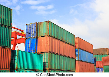 Stack of Cargo Containers  in an intermodal yard