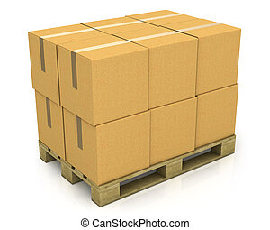 Stack of carton boxes on a pallet isolated on white background