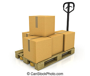 Stack of carton boxes on a pallet with a pallet truck isolated on white background