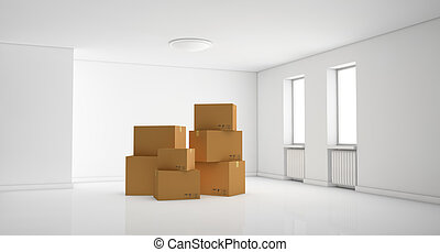 stack of cartons - one empty room with a stack of cartons...