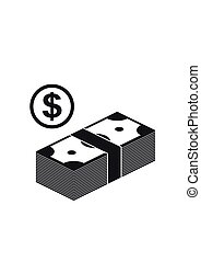 Stack of Cash and Coin Icon isolated. Money Vector Illustration