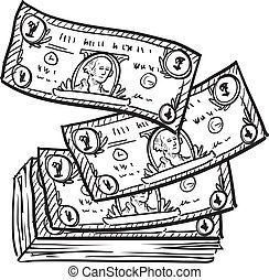 Doodle style paper currency or dollar bills illustration in vector format