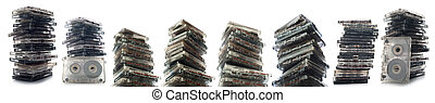Stack of cassettes isolated on white background.
