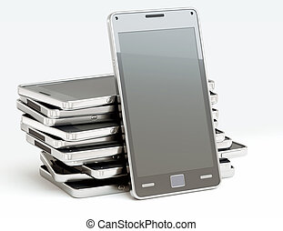 Stack of cellphones with touch screens over white. Custom...