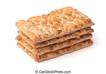 Stack of cereal crispbread crackers